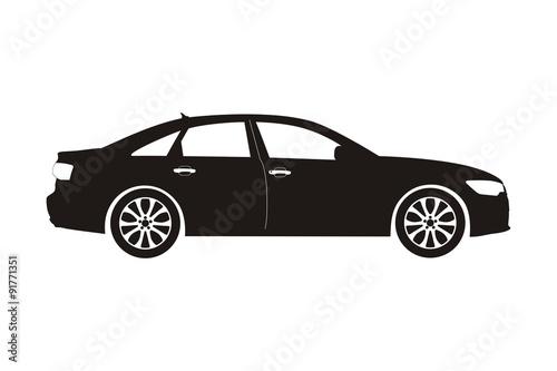 Fototapeta icon car sedan black on the white background
