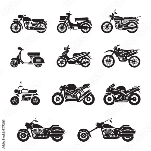 Motorcycle Riders, Bikers, Black and white, Silhouette Wall mural