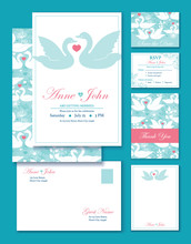 Vector Swans Wedding Invitation Set. RSVP, Thank You Card