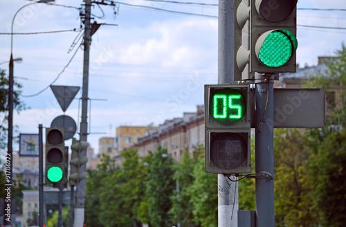 Зеленый светофор Canvas Print