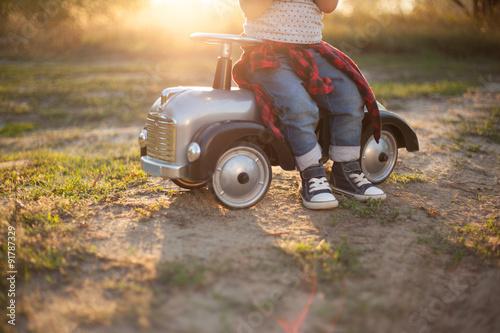 Fotografie, Obraz  Little racer and tiny race car