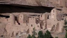 Pan Across Ancient American Indian Dwellings At Mesa Verde, Colorado.