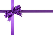 Purple Gift Ribbon And Bow Isolated On White Background
