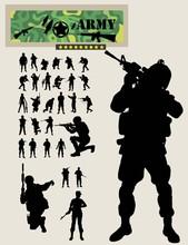 Soldier Silhouettes, Art Vector Design