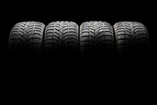 Set Of Four Black Car Tires Li...