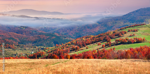 Aluminium Prints Autumn Colorful winter sunrise in the Carpathian mountains.
