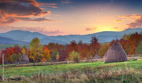 Foto op Plexiglas Crimson Colorful winter sunrise in the Carpathian mountains.