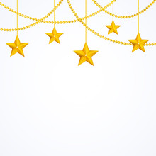Card Template With Hanging Yellow Gold Stars, Shiny Beads Isolated On White Background With Copyspace For Your Text, Stock Vector Graphic