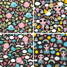 Set Of Cute Seamless Patterns ...