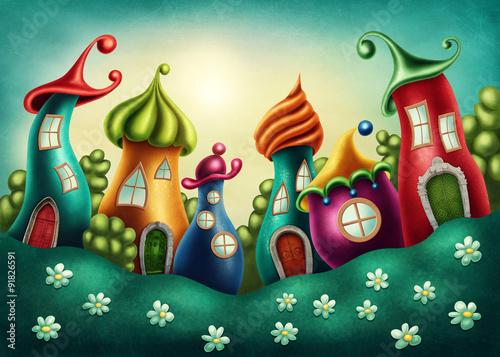 fantastyczna-wioska-magicznych-stworzen-na-zielonej-polanie
