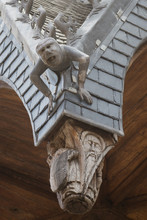 Gargoyle Detail On The Roof Of The 15th Century Hotel Dieu Hospital, Beaune, France