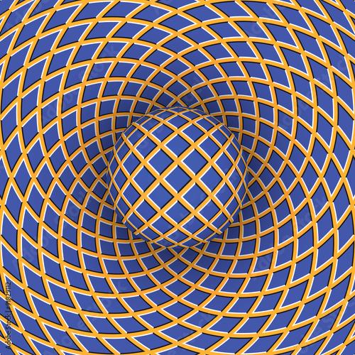 Plakat Optyczne złudzenie obrotu piłki na tle poruszającej się przestrzeni.
