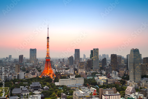 Photo  Tokyo city skyline at sunset, Japan