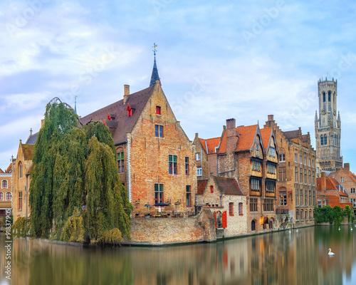 Wall Murals Bridges Brugge canals at sunrise