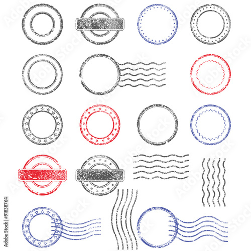 Blank Templates Of Shabby Postal Stamps Round Shape