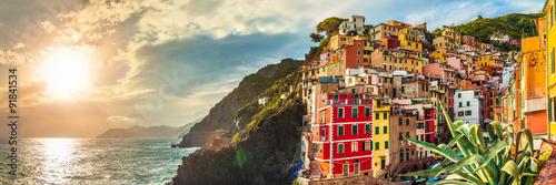 Photo sur Aluminium Ligurie Riomaggiore panorama, Cinque Terre, Italy