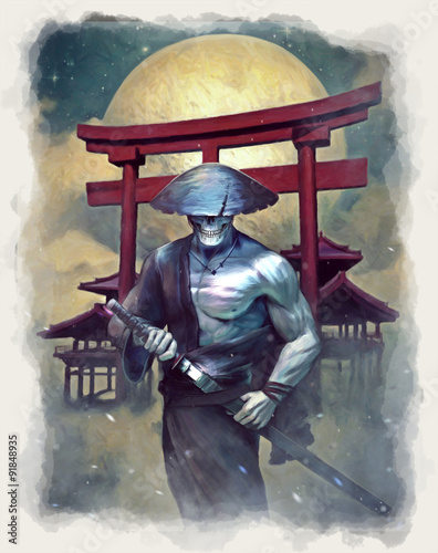 In de dag Aquarel schedel Undead Samurai