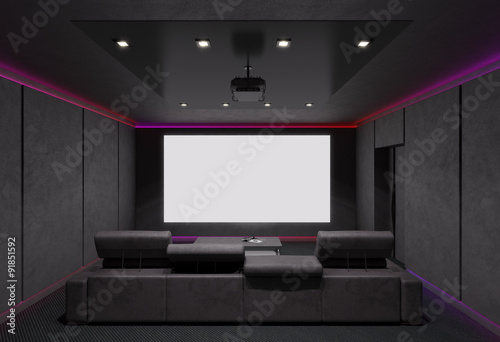 Home Theater Interior  3d illustration  - Buy this stock
