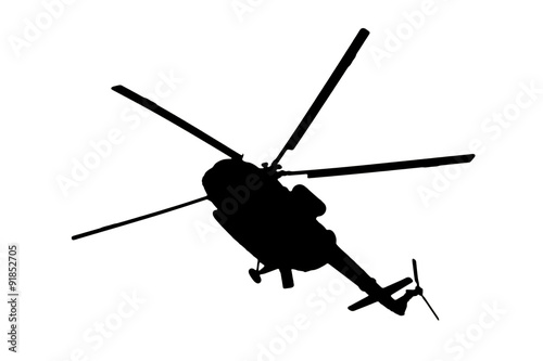 Tuinposter Helicopter helicopter silhouette on a white background