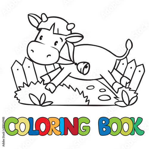 Coloring book of little funny cow or calf – kaufen Sie diese ...