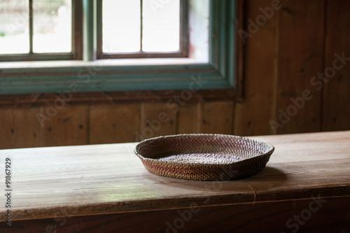 Photo  Basket on Wooden Farm Table
