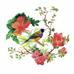 Obraz Watercolor hand drawn pattern with tropical summer flowers of