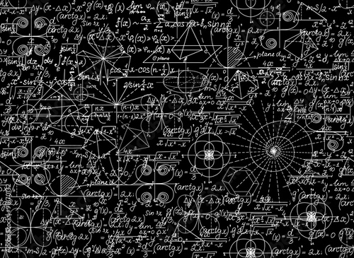 Fotografie, Obraz  Mathematical vector seamless pattern with mathematical figures and equations