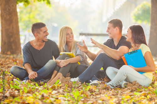 Photo  Group of cheerful young students sitting on the ground in a park and studying to