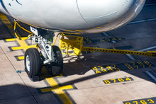 Front Wheels Boeing 747 On Stand