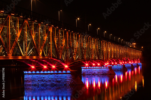 Valokuva  Illuminated bridge in Plock Poland
