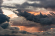 Leinwandbild Motiv evening sky with dramatic clouds