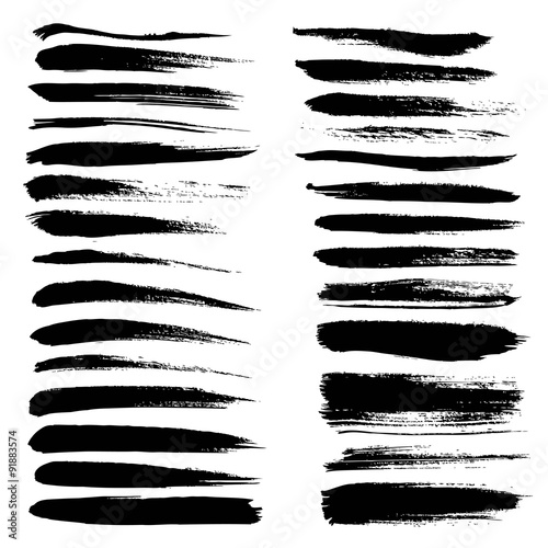 big set of long texture of dry brush strokes of black paint buy