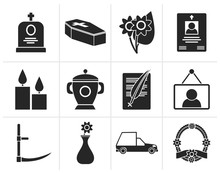 Black Funeral And Burial Icons - Vector Icon Set
