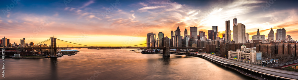 Fototapety, obrazy: Brooklyn Bridge panorama at sunset