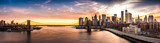 Fototapeta Nowy Jork - Brooklyn Bridge panorama at sunset