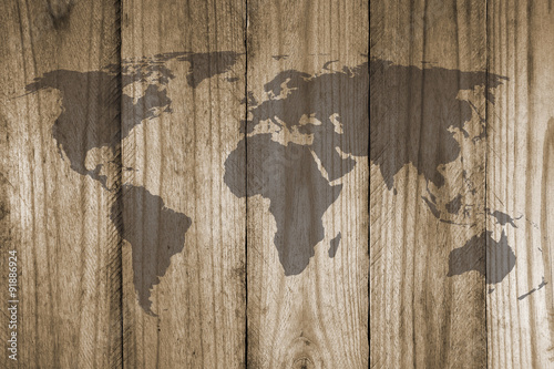 In de dag Wereldkaart world map on wooden texture