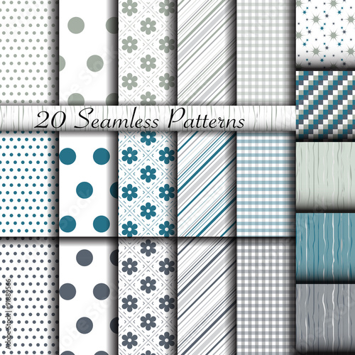 Türaufkleber Künstlich Set of 20 classic seamless patterns. Used for wallpaper, pattern fills, web page background, textures, classic ornaments.