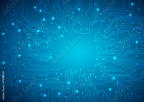 Stampa su Tela Technological vector background with a circuit board texture