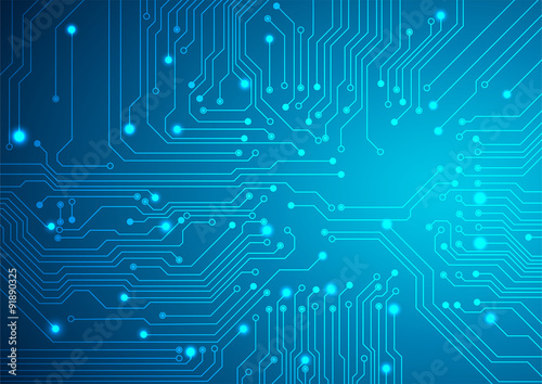 Fotografie, Obraz  Technological vector background with a circuit board texture