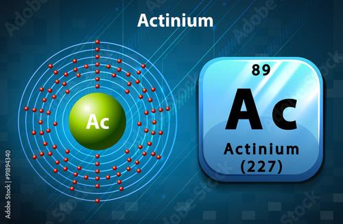 Photo Symbol and electron diagram for Actinium