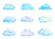 Leinwandbild Motiv Set of Bright Blue Watercolor Clouds, Isolated on White, Hand Drawn and Painted