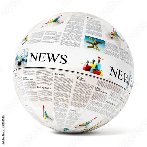 Fotografía  Newspaper on globe