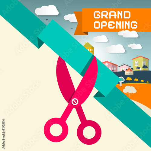 Fotografía  Grand Opening Title with Scissors and Town