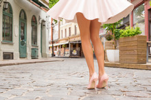 Woman With Beautiful Legs Wearing High Heel Shoes