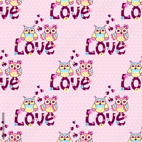 Poster Hibou Beautiful pattern with owls on a pink background