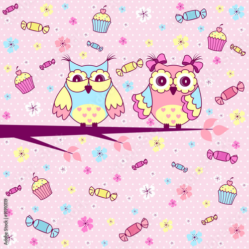 Poster Hibou Beautiful greeting card with cute owls, cakes and chocolates on a pink background