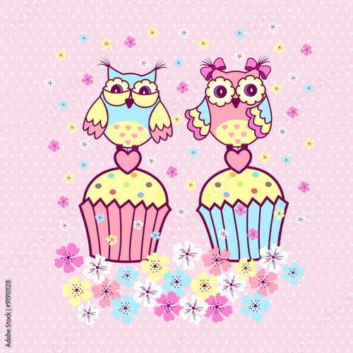 Poster Hibou Two couples on a cake on a pink background