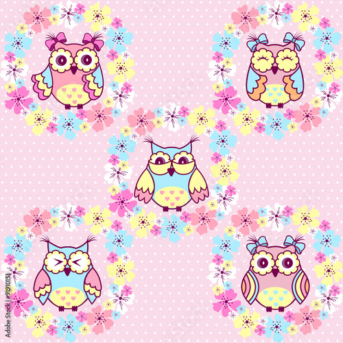Poster Hibou Beautiful pattern with owls and flowers on a pink background