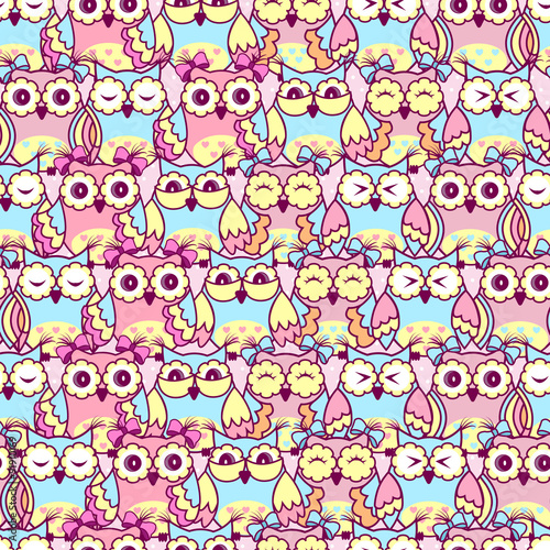 Poster Hibou Seamless pattern of pink owls on a pink background