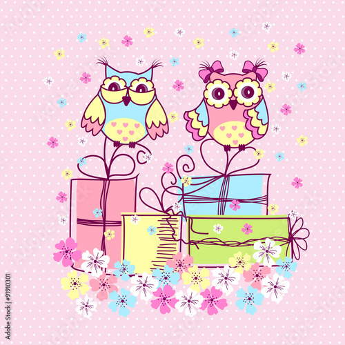 Poster Hibou Beautiful pattern postcard with owls and gifts on pink background